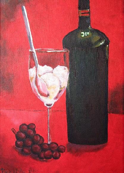 Grapes Painting - Still Life by Prasida Yerra