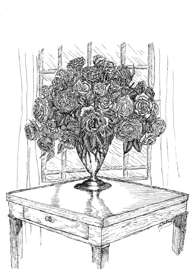 Pen Drawing - Still Life Roses by Lee Halbrook