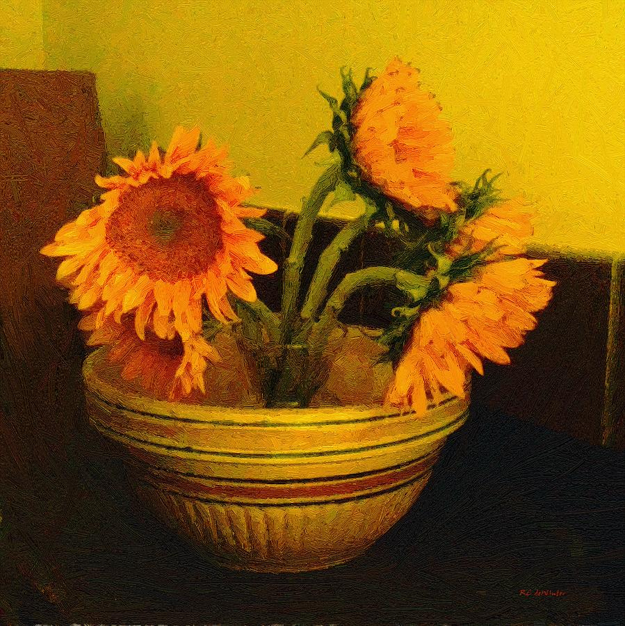 Sunflowers Painting - Still Life September by RC deWinter