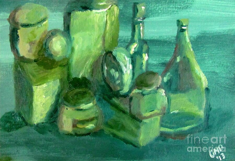 Print Painting - Still Life Study In Green by Greg Mason Burns