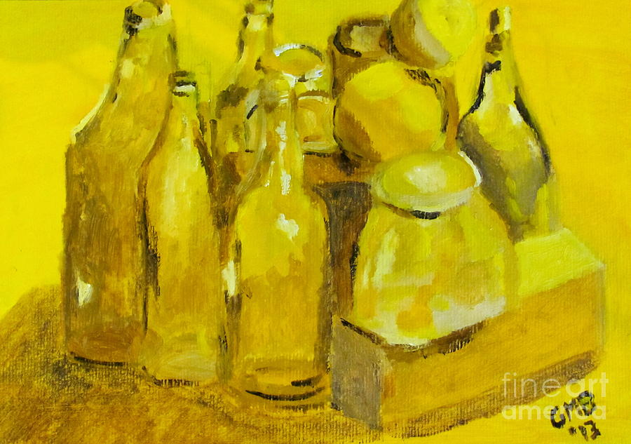 Print Painting - Still Life Study In Yellow by Greg Mason Burns