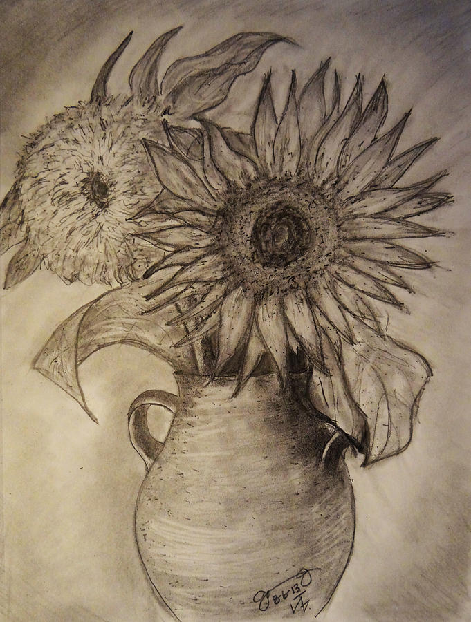 Still Life Two Sunflowers In A Clay Vase Drawing By Jose A
