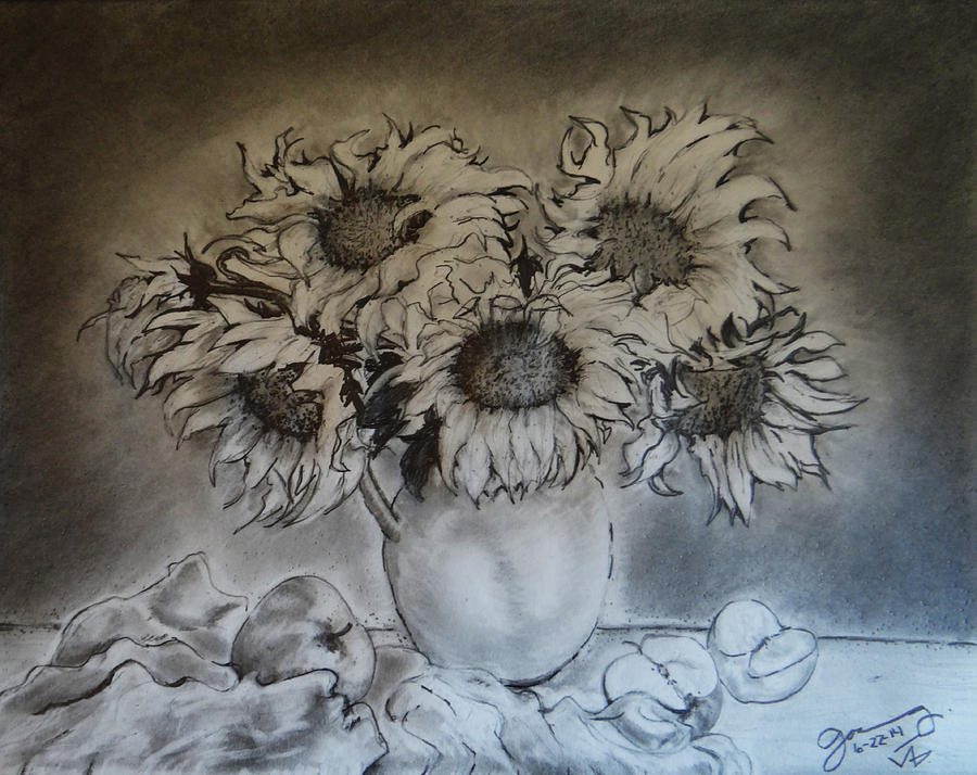 Still Life - Vase With 6 Sunflowers Drawing