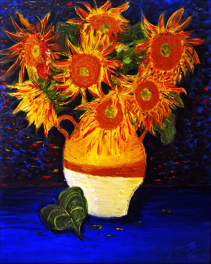 Still Life - Vase With 7 Sunflowers Drawing