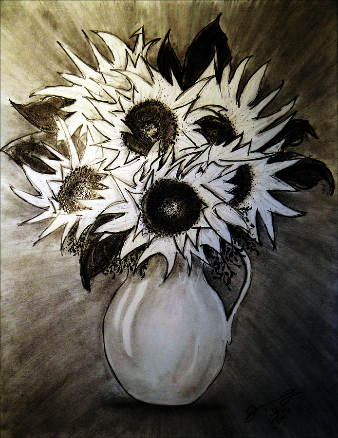 Still Life - Yellow Vase With Six Sunflowers Drawing