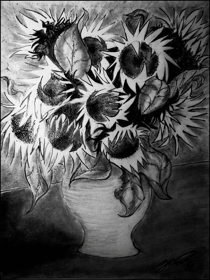 Still Life - Vase With Ten Sunflowers Drawing