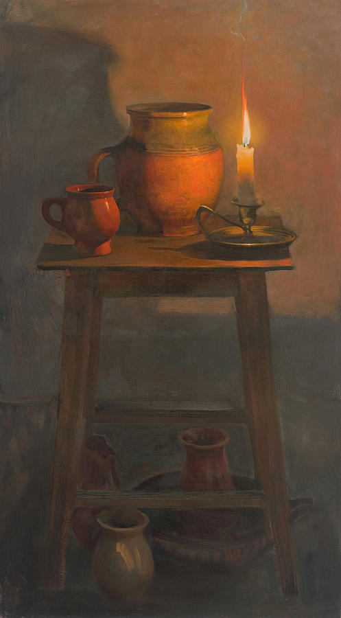 Still life with a candle painting by victoria kharchenko for Candle painting medium
