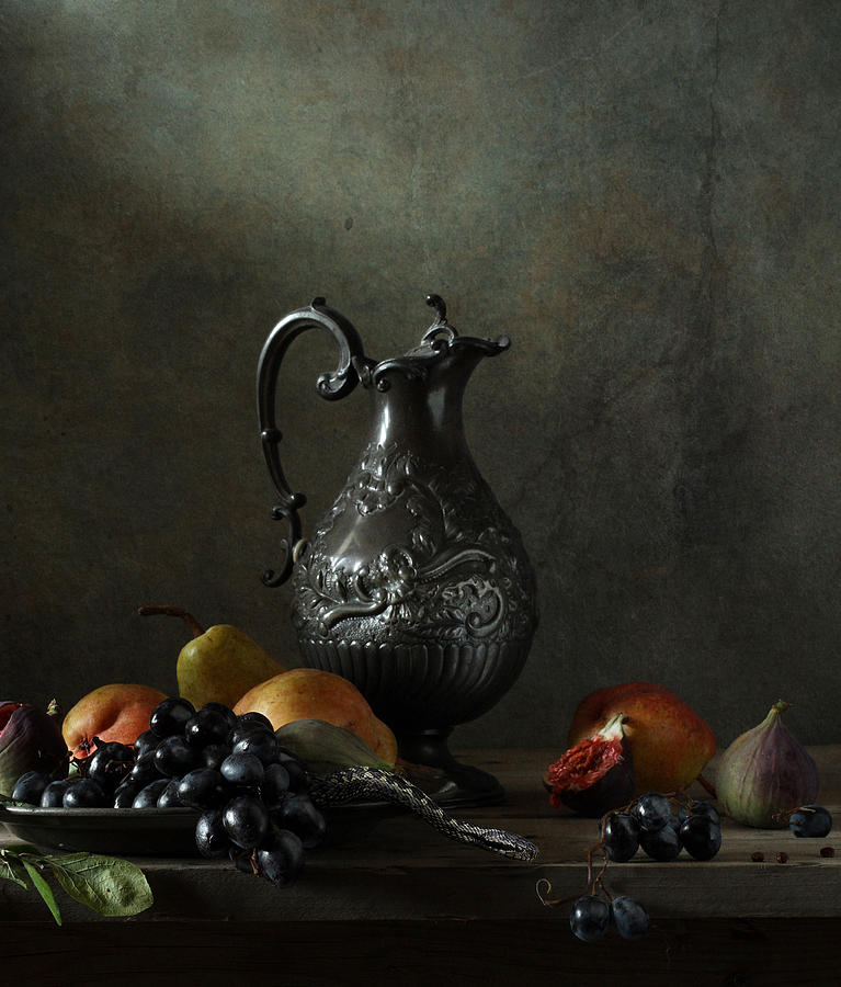 Fine Art Photograph Photograph - Still Life With A Jug And A Snake by Diana Amelina