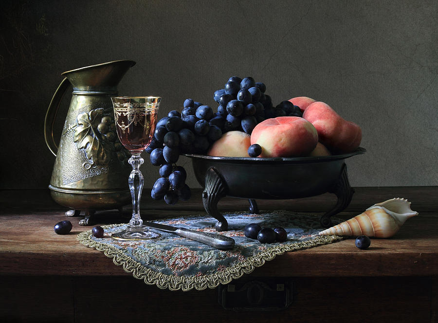 Still Life With  Jug Photograph - Still Life With A Jug And Fruit And A Shell. by Helen Tatulyan
