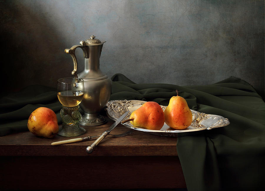 Fine Art Photograph Photograph - Still Life With A Jug And Roamer And Pears by Helen Tatulyan