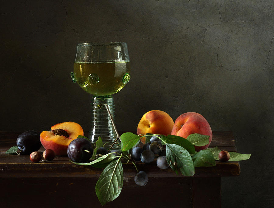 Breakfast Still Life Photograph - Still Life With A Roamer And Fruit by Diana Amelina