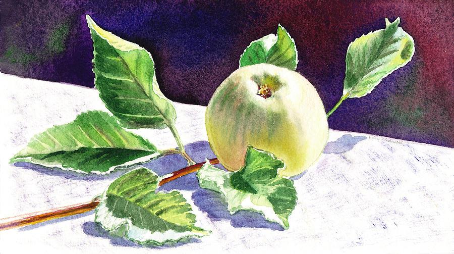 Apple Painting - Still Life With Apple by Irina Sztukowski