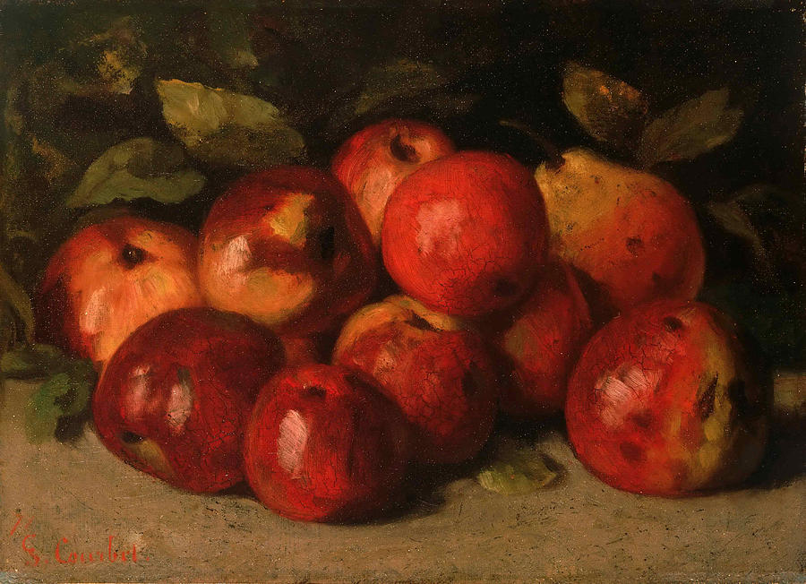 Gustave Courbet Painting - Still Life with Apples and a Pear by Gustave Courbet
