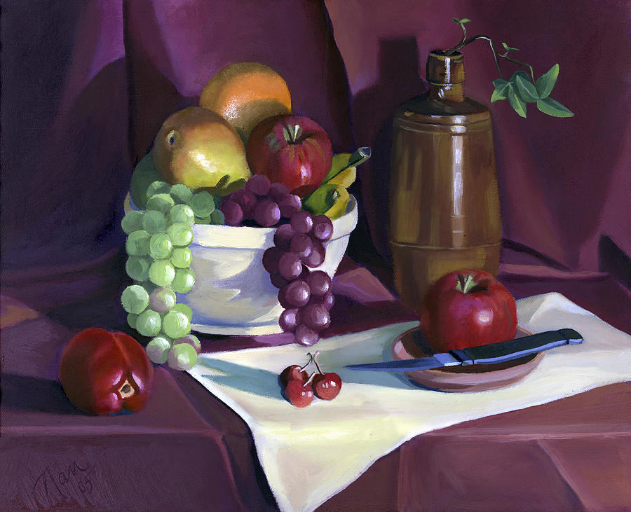 Grapes Painting - Still Life with Apples by Nancy Griswold