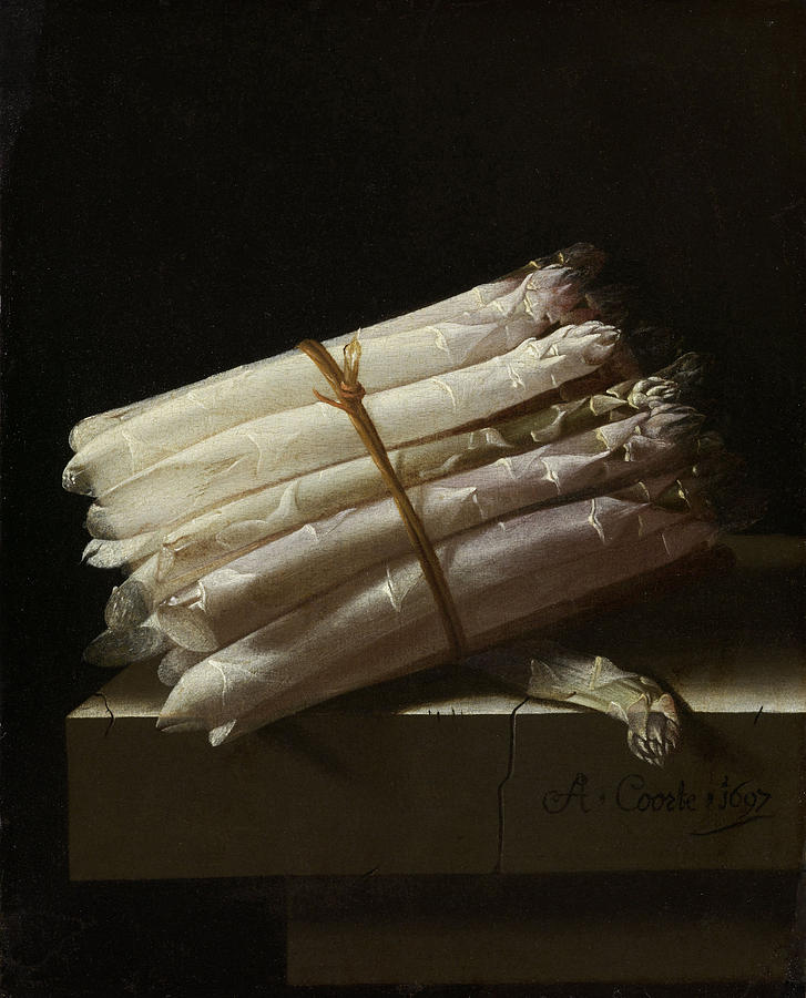 1697 Painting - Still Life With Asparagus, Adriaen Coorte by Quint Lox