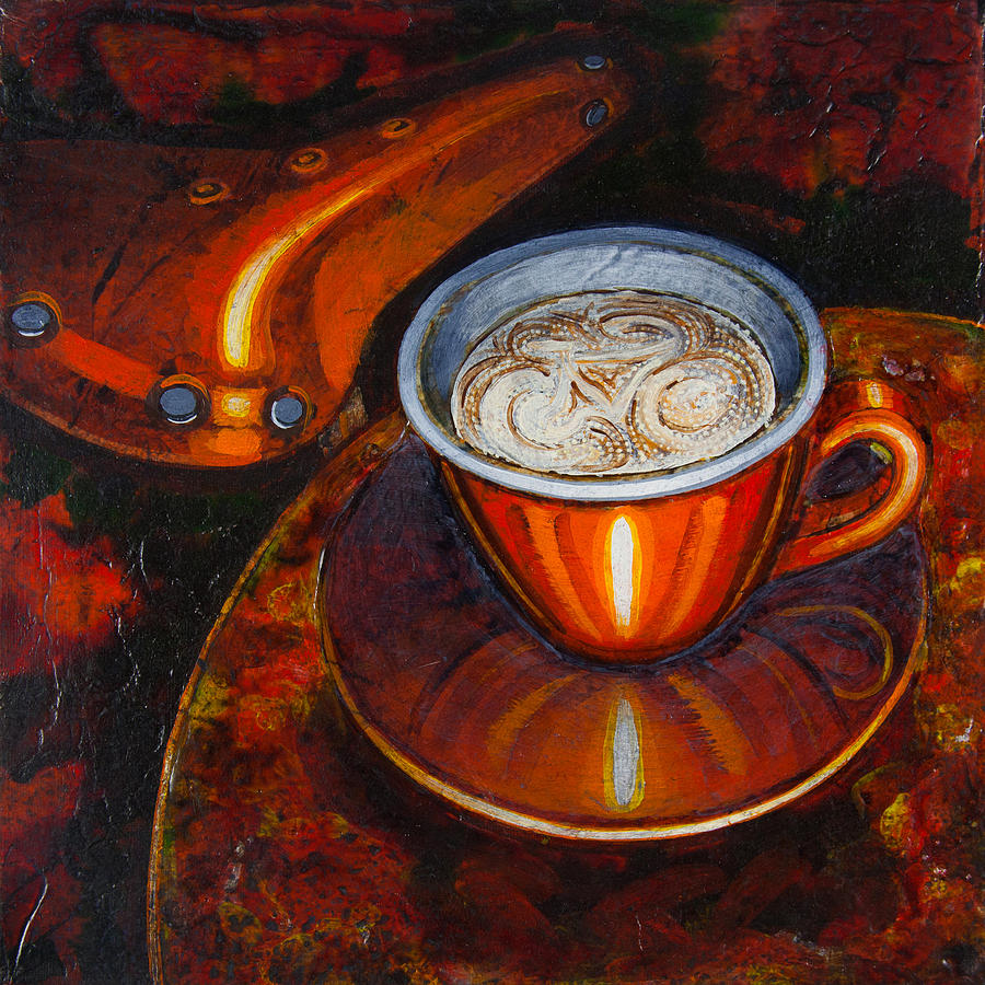 Coffee Painting - Still Life With Bicycle Saddle by Mark Howard Jones