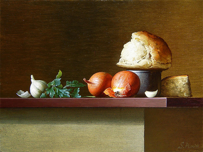 Bread Painting - Still-life with bread and parsley by Stanislav Plonish