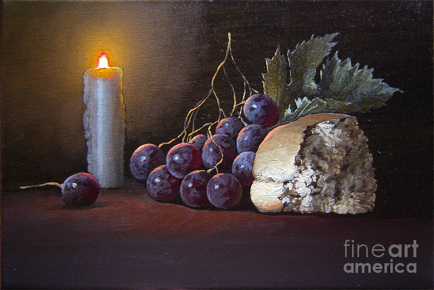 Still life with candle and bread painting by stanislav plonish for Candle painting medium