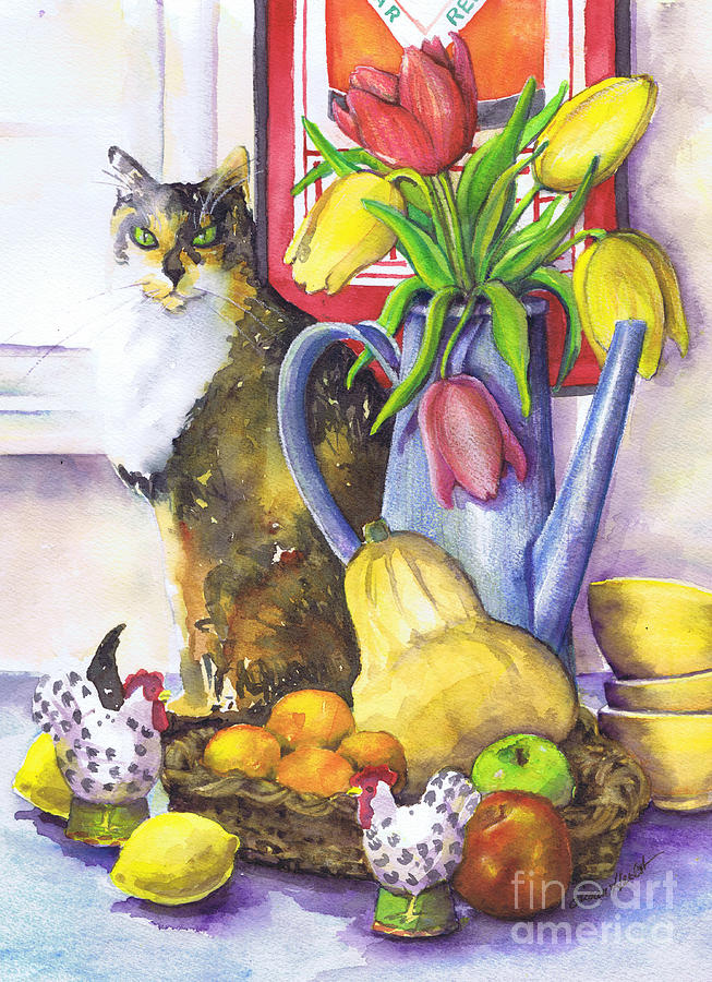 Cat Painting - Still Life With Cat by Susan Herbst