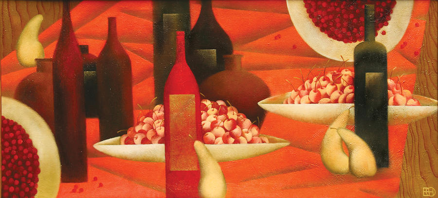 Red Painting - Still Life With Cherry by Nadia Egorova