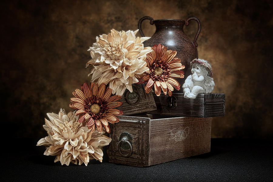 Angel Photograph - Still Life with Cherub by Tom Mc Nemar