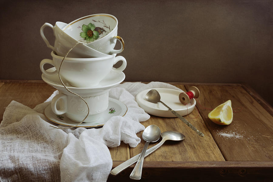 Still Life With Cups And Spoons Photograph by Copyright Anna Nemoy(xaomena)