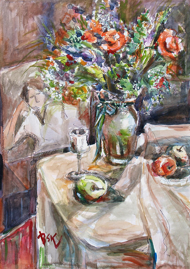 Floral Painting - Still Life With Figural Background by Becky Kim