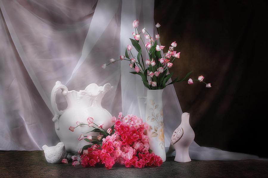 Arrangement Photograph - Still Life With Flowers And Birds by Tom Mc Nemar