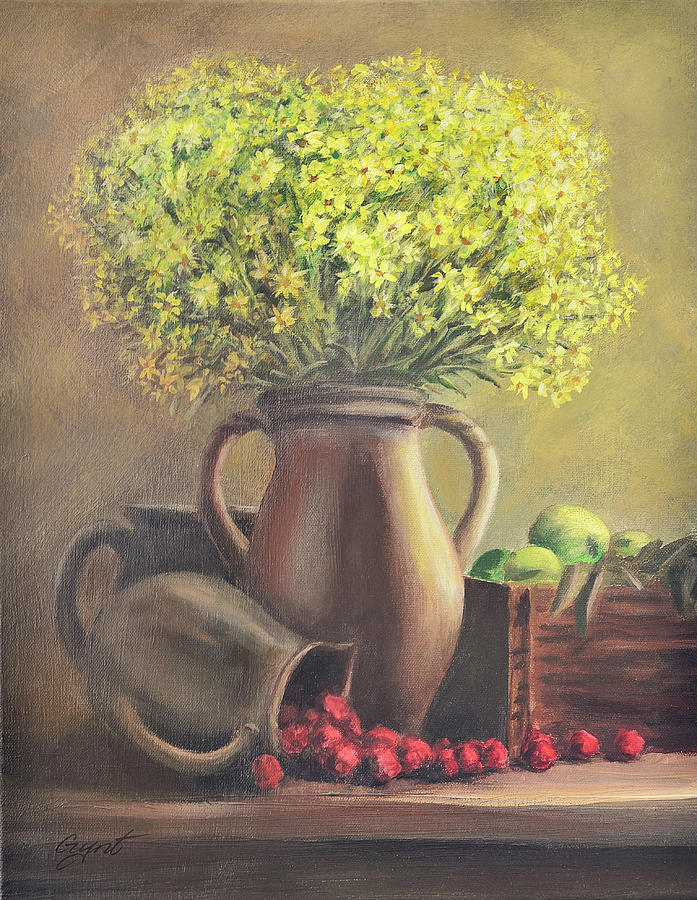 Still Life Painting - Still Life With Flowers And Fruits by Gynt Art