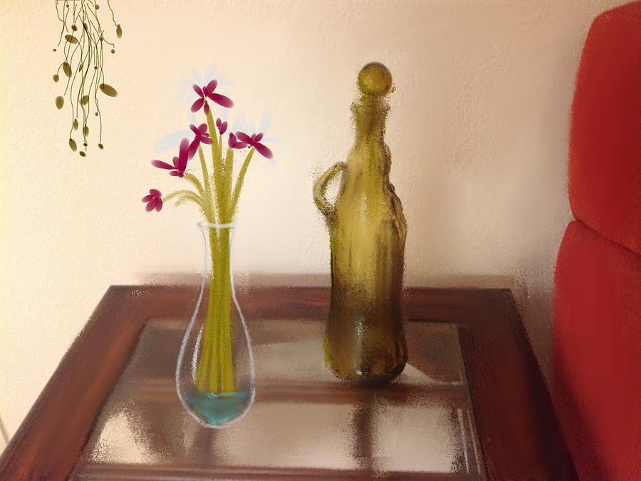 Flowers Digital Art - Still Life with Flowers by Dan Twyman