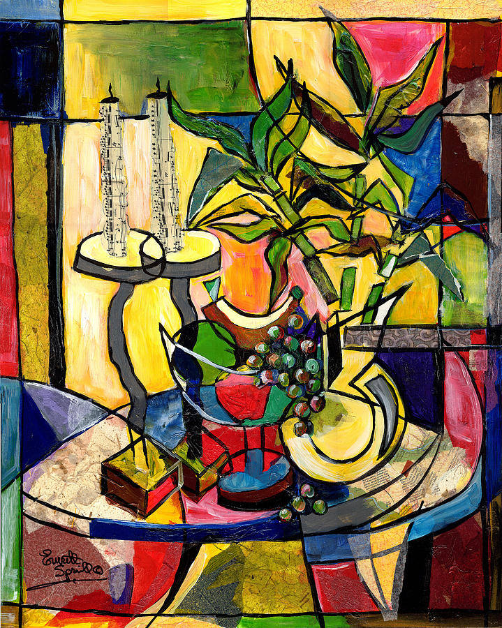 Jazz Painting - Still Life With Fruit Candles And Bamboo by Everett Spruill