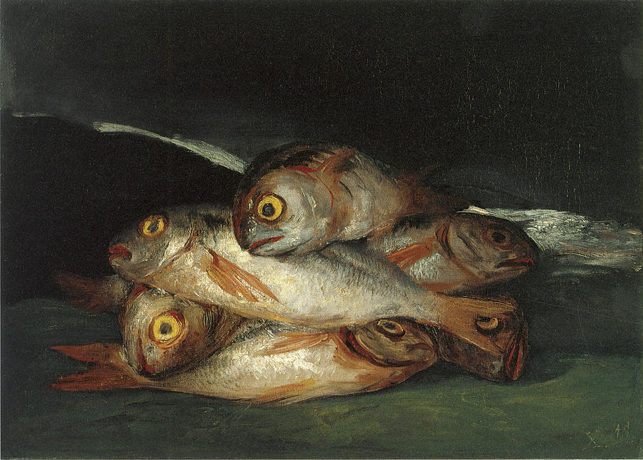 Fish Painting - Still Life With Golden Bream by Francisco De Goya