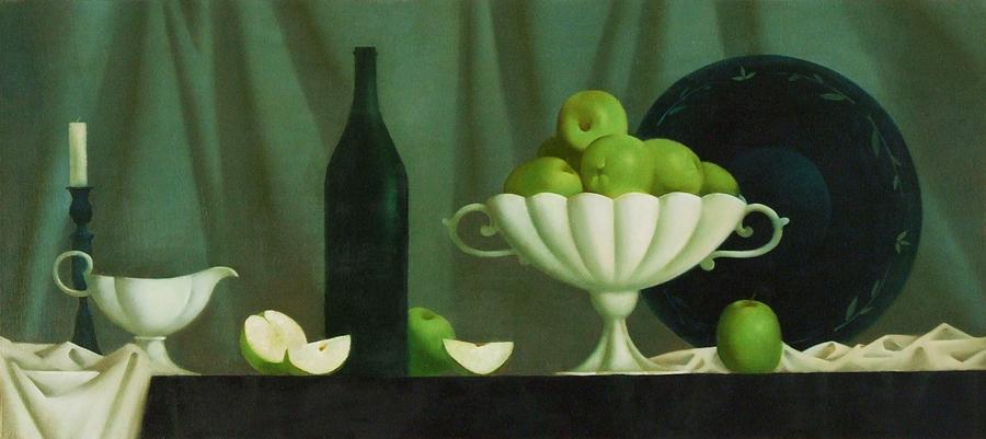 Still Life Painting - Still Life With Green Apples by Nadia Egorova