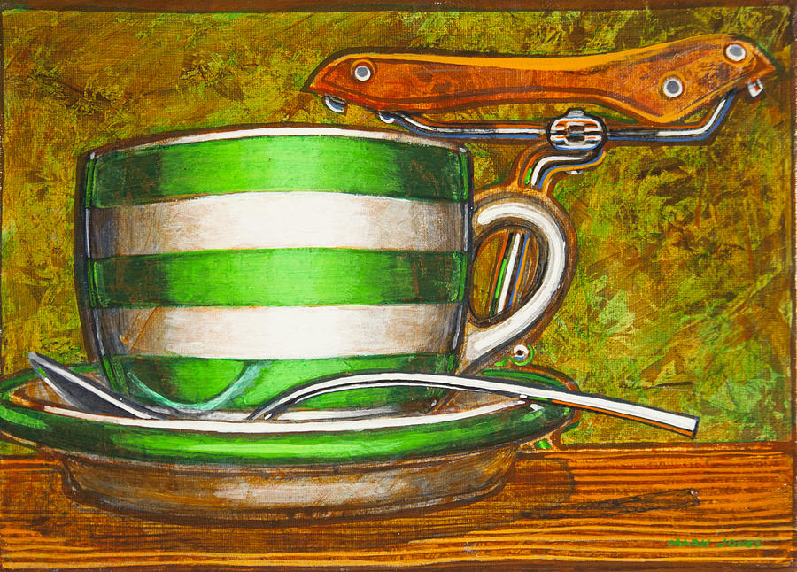 Stripes Painting - Still Life With Green Stripes And Saddle  by Mark Jones