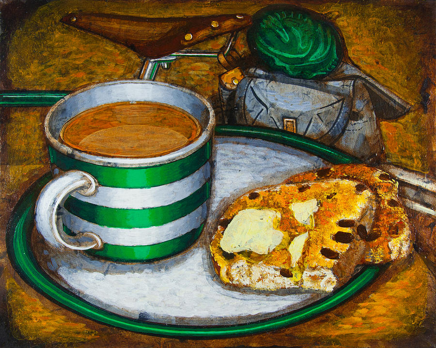 Tea Painting - Still Life With Green Touring Bike by Mark Jones