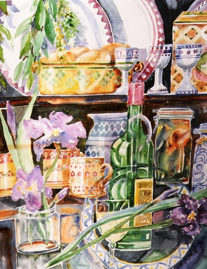 Still Life Painting - Still Life With Irises by Trudi Doyle