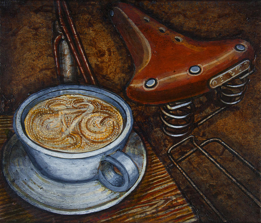 Coffee Painting - Still Life With Ladies Bike by Mark Jones