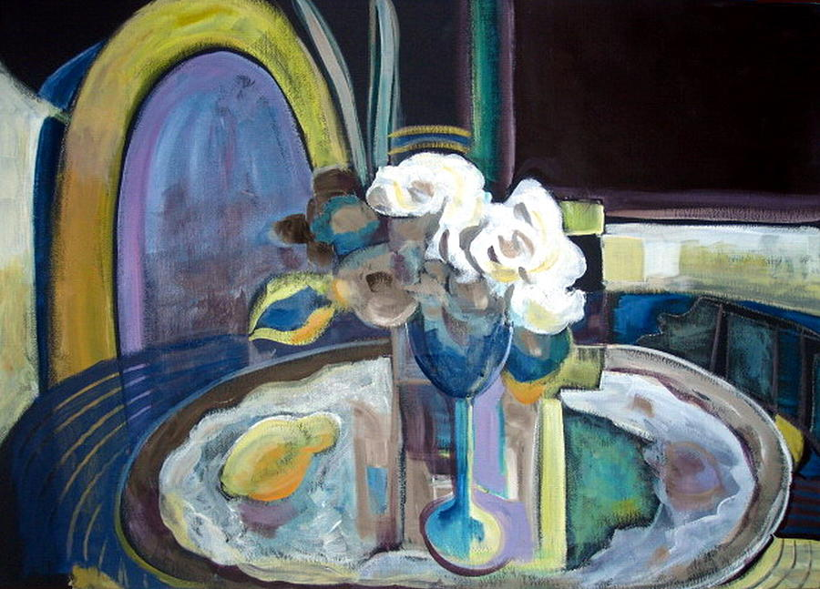 Modern Painting - Still Life With Lemon And Two White Roses by Therese AbouNader