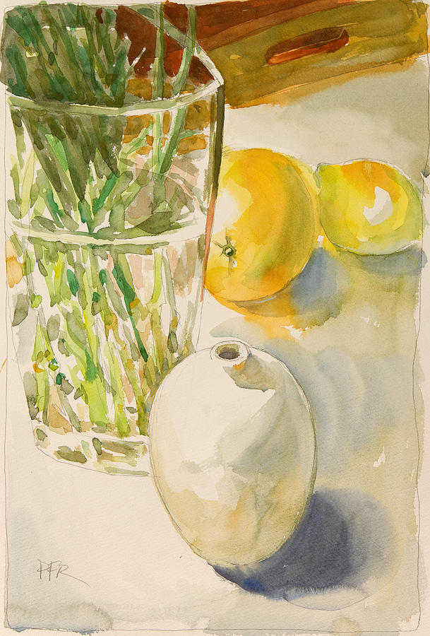 Lemons Painting - Still life with lemon and vase by Pablo Rivera