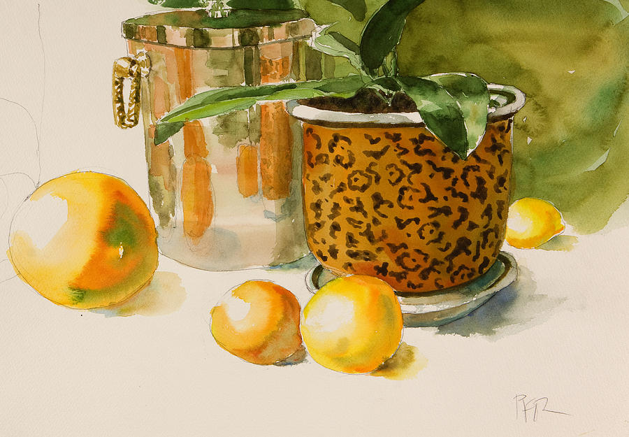 Plant In Pot Painting - Still Life With Lemons And Potted Plant by Pablo Rivera