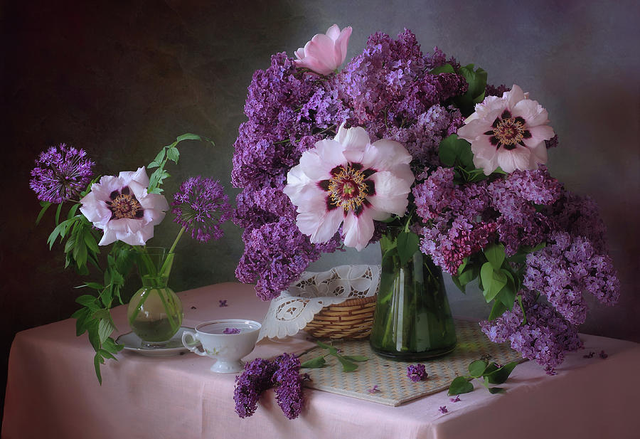 Purple Photograph - Still Life With Lilac And Peonies by ??????? ????????