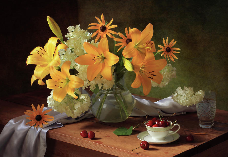 Flower Photograph - Still Life With Lilies by ??????????? ??????????