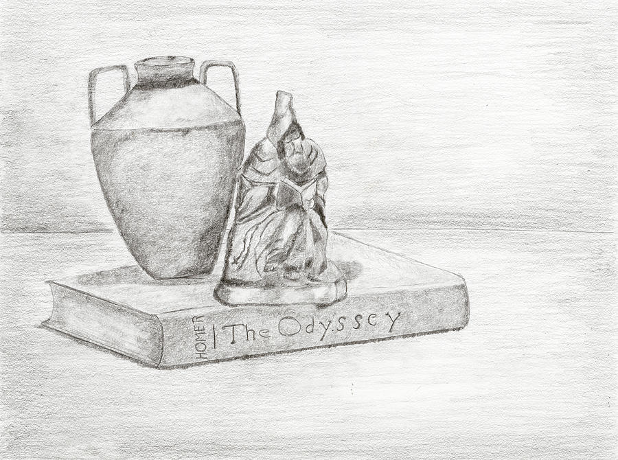Still Life With Monk Drawing