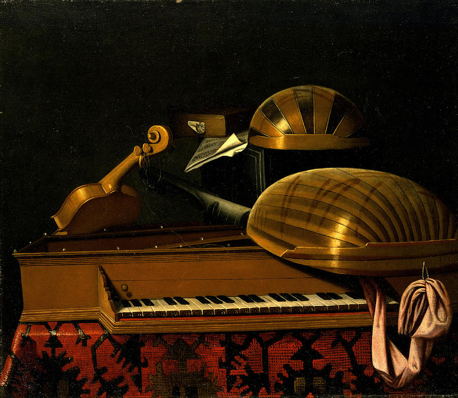 Still Life With Musical Instruments And Books Painting by ...
