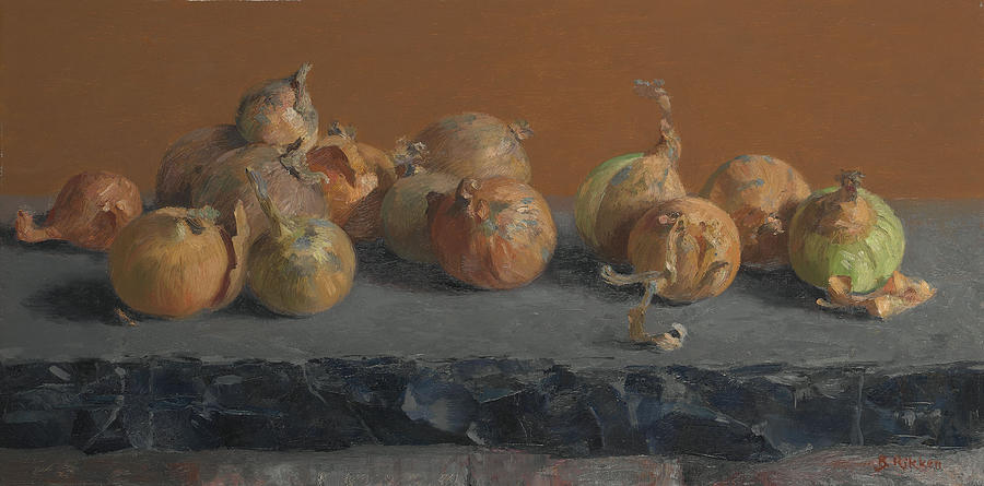 Vegetables Painting - Still Life With Onions  by Ben Rikken