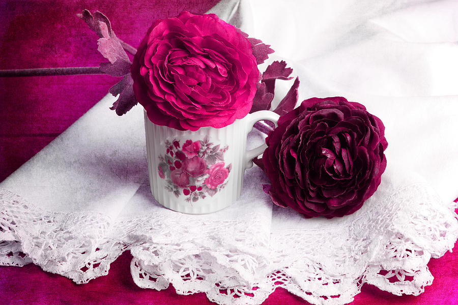 Still Life Photograph - Still Life With Paper Flowers by Angela Bruno