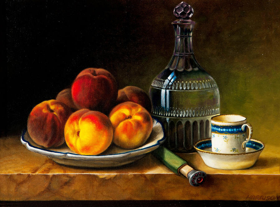 Still Life Painting - Still Life With Peaches by Bernadette Harrison