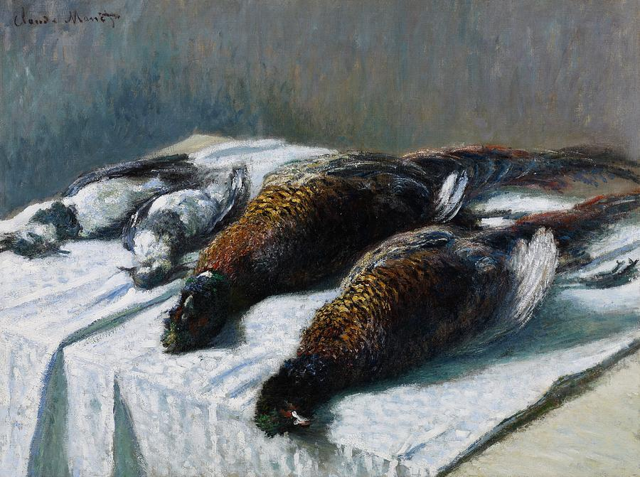 French Painting - Still Life With Pheasants And Plovers by Claude Monet