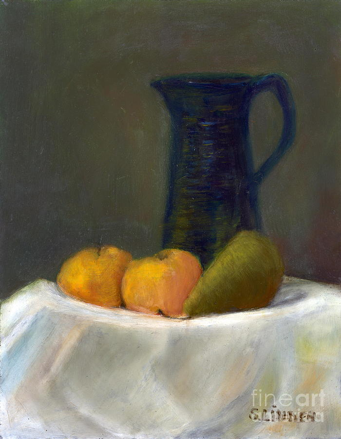 Still Life With Pitcher And Fruit Painting by Sandy Linden