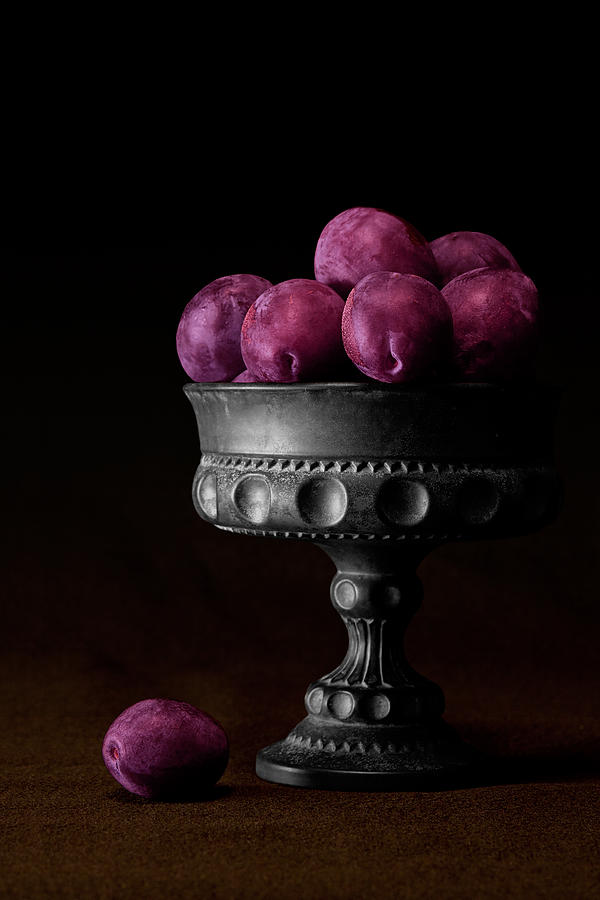 Bowl Photograph - Still Life With Plums by Tom Mc Nemar